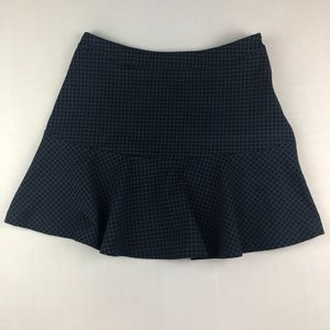Lush Navy and Black Gingham and Ruffle Skirt EUC